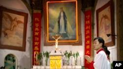 北京天主教徒在政府認可的聖母無原罪主教座堂參加彌撒(2018年9月22號)