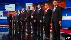 8月6日晚,美國共和黨10位總統參選人﹐在俄亥俄州城市克利夫蘭舉行首場辯論。
