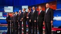 Wagombea urais wa Republican kutoka kushoto, Chris Christie, Marco Rubio, Ben Carson, Scott Walker, Donald Trump, Jeb Bush, Mike Huckabee, Ted Cruz, Rand Paul, na John Kasich.