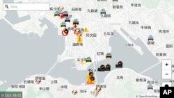"""Muestra de una pantalla de la aplicación """"HKmap.live"""", que fue removida hoy por Aple, al decir que fue usada por """"delincuentes"""" en las protestas en Hong Kong. 9 de ocutbre de 2019. AP./Vincent Yu)."""