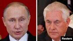 ولادمیر پوتین رئیس جمهور روسیه و ریکس تیلرسن، وزیرخارجۀ ایالات متحده