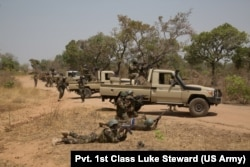 Nigerien soldiers respond to training at Exercise Flintlock 2019 near Po, Burkina Faso, February 26, 2019.