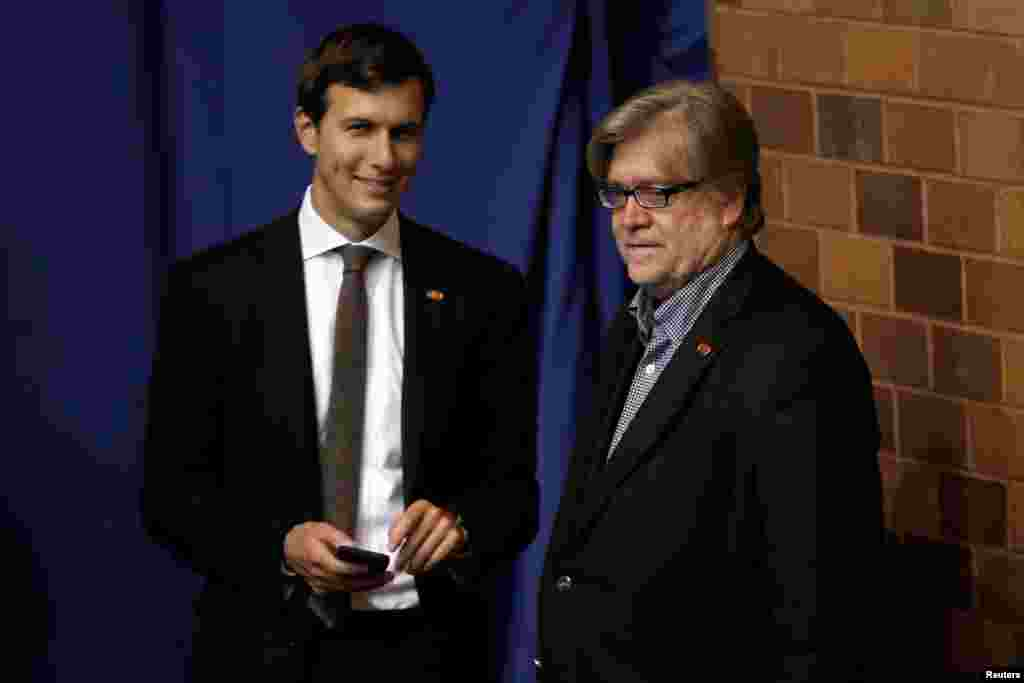 Jared Kushner, husband of Ivanka Trump, seen here with Stephen Bannon, is on Donald Trump's transition team. The New Jersey real estate scion helped guide Trump to victory and is poised to remain an influential adviser during his presidency.