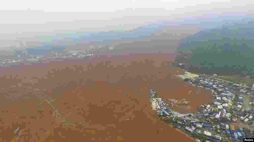 An aerial view shows the site of a landslide which hit an industrial park in Shenzhen, Guangdong province, China.