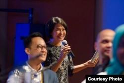 Amelia Hapsari salah satu rangkaian acara Goodpitch Southeast Asia di Goethe Haus, Jakarta, Mei 2017 (dok: In-Docs)