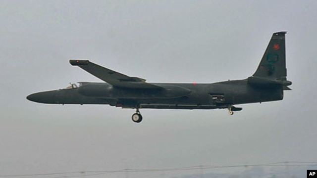 A U-2 flies at low altitude on an overcast Korean morning, Osan Air Base, South Korea, December 2011.