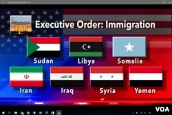 Graphic with flags of countries subject to US travel ban
