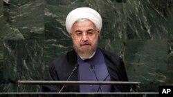 하산 로하니 이란 대통령이 25일 뉴욕에서 열린 제 69차 유엔총회에서 기조연설을 하고 있다.