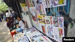 버마 랑군 시의 신문 가판대. (자료사진)