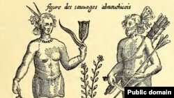 Fanciful 1612 engraving of depicting the Almouchicois Indians—the French term for the Massachusett-speaking peoples of southern New England, after a 1605 drawing by the French explorer.