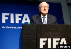 FILE - FIFA President Sepp Blatter addresses a news conference at the FIFA headquarters in Zurich, Switzerland.