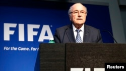 FILE: FIFA President Sepp Blatter addresses a news conference at the FIFA headquarters in Zurich, Switzerland, June 2, 2015.