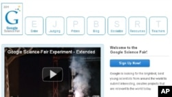 A screenshot of Google's Science Fair webpage