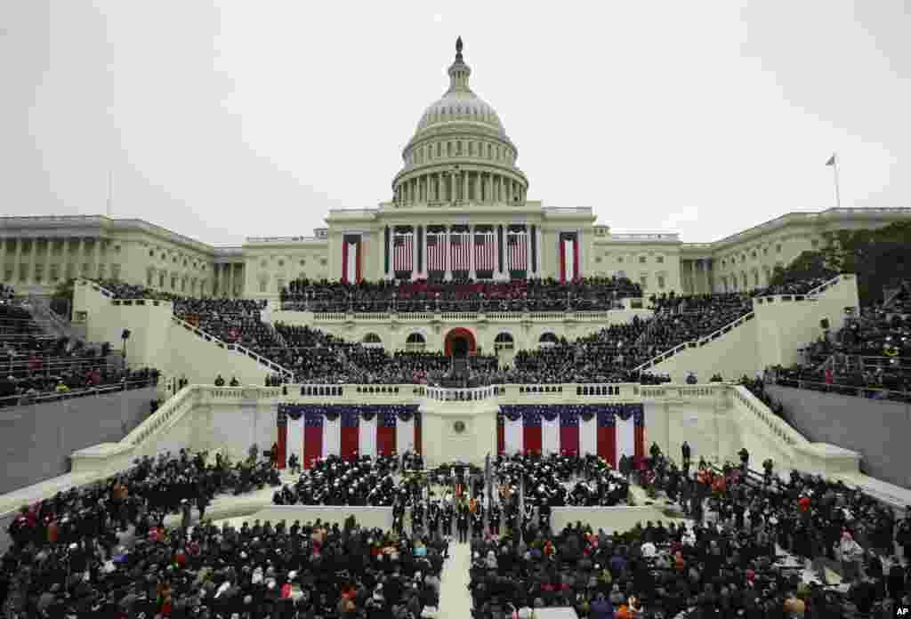 President Barack Obama speaks at the ceremonial swearing-in at the U.S. Capitol during the 57th Presidential Inauguration in Washington, Jan. 21, 2013.