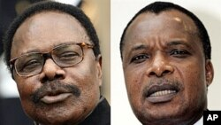 Combination of two recent pictures showing, from left, the president of Gabon, Omar Bongo, and the president of Congo Brazzaville, Denis Sassou Nguesso, who are two of the three African leaders being probed for allegedly buying property in France with emb