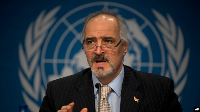 Syrian Ambassador to the United Nations, Bashar Ja'afari, speaks during a press conference during the Syrian peace talks in Montreux, Switzerland, Jan. 22, 2014.