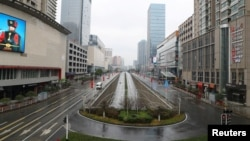 中国湖北武汉在新型冠状病毒疫情爆发后春节期间的街道。(2020年1月26日)