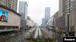 中國湖北武漢在新型冠狀病毒疫情爆發後春節期間的街道。(2020年1月26日)