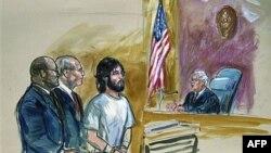 Bức phác họa một phiên tòa xử Ortega-Hernandez, bị can bắn vào Tòa Bạch Ốc, tại một tòa án liên bang ở Washington hôm 21/11/11