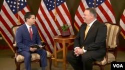 4月13日,美国国务卿蓬佩奥在访问巴拉圭的时候接受美国之音记者专访。