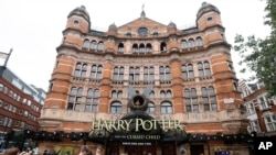 Advertising for the new Harry Potter play at the Palace Theatre in London.