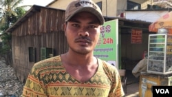 Thin Seangly, 29 years old, from Prey Veng province was sold by a broker for 25,000 baht. He was on fishing boats which landed only on isolated island Benjina. He was rescued and landed in Phnom Penh last month after leaving Cambodia since 2009. (Phorn Bo