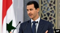 Presiden Suriah Bashar Assad berbicara di Damaskus (foto: dok).