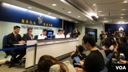 香港警方2019年9月16日召開記者會稱暴力幾近失控 (美國之音記者黎堡拍攝)