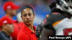 Tampa Bay Buccaneers assistant strength and conditioning coach Maral Javadifar was one of two women on the Super Bowl champion staff. (AP Photo/Paul Sancya)