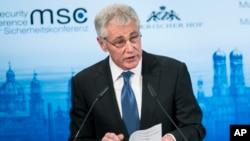 美國國防部長哈格爾星期六在慕尼黑安全會議上發表講話
