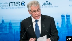 U.S. Secretary of Defense, Chuck Hagel, speaks during the Munich Security Conference at the Bayerischer Hof Hotel in Munich, southern Germany, Feb. 1, 2014.
