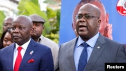 FILE - Felix Tshisekedi (R), leader of Congolese main opposition, the Union for Democracy and Social Progress (UDPS) party, flanked by Vital Kamerhe, leader of the UNC party, addresses a news conference in Nairobi, Kenya, Nov. 23, 2018.