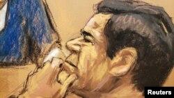 """El acusado narcotraficante mexicano Joaquín """"El Chapo"""" Guzmán, durante el juicio que se adelanta en su contra, en Nueva York."""