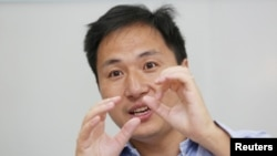 Scientist He Jiankui speaks at his company Direct Genomics in Shenzhen, Guangdong province, China July 18, 2017.