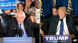 Ứng cử viên Bernie Sanders của đảng Dân chủ và Donald Trump của đảng Cộng hòa.