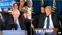 Bernie Sanders, left, and Donald Trump address supporters after winning the New Hampshire primaries.