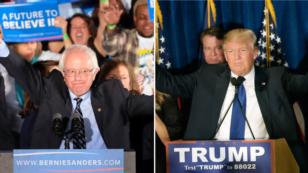 9일 미국 뉴햄프셔주 대선 경선에서 승리한 민주당 버니 샌더스(왼쪽) 후보와 공화당 도널드 트럼프 후보.