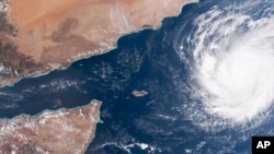 This satellite image, captured by NOAA on Oct. 30, shows Tropical Cyclone Chapala as it nears the Arabian peninsula. Chapala is expected to make landfall over eastern Yemen between late evening Monday and early Tuesday.