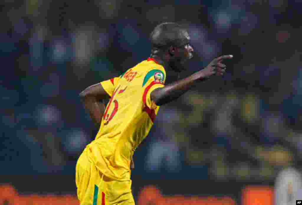 Mali's Bakaye Traore celebrates his goal during their African Nations Cup Group D soccer match against Guinea at Franceville Stadium
