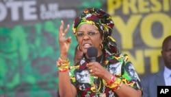 FILE - Zimbabwe's first lady, Grace Mugabe, addresses party supporters at a ZANU PF rally in Chinhoyi in this July 29, 2017