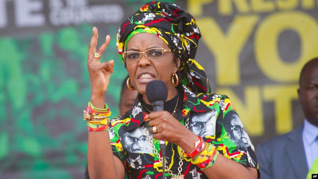 FILE - Zimbabwe's first lady, Grace Mugabe, addresses party supporters at a ZANU PF rally in Chinhoyi in this July 29, 2017