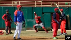 Members of the Cuba's national baseball team take part in a training session in San Jose de las Lajas, Mayabeque province, Cuba, March 17, 2016.