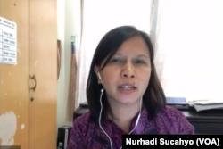 Novi Anggriani, dari Women Voice and Leadership dalam tangkapan layar. (Foto: VOA/Nurhadi Sucahyo)