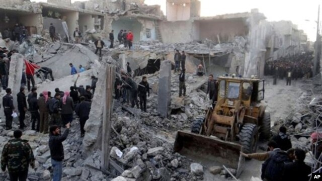 14일 공습으로 붕괴된  시리아 알레포의 건물. (자료사진)