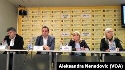 Predstavnici Udruženja CHF Srbija na konferenciji za štampu, Foto: VOA