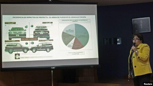Victoria Pacheco Jiménez, subprocuradora de Control Regional, Procedimientos Penales y Amparo de la Procuraduría explica los detalles del atentado a una camioneta en que viajaban dos agentes de la CIA.