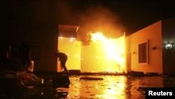 美國駐利比亞班加西領事館在2012年9月11日群眾抗議期間被縱火焚燒