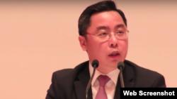 中國駐美公使李克新(聯合報網絡視頻截圖)