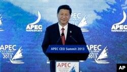 Chủ tịch Trung Quốc Tập Cận Bình phát biểu tại Diễn đàn Hợp tác Kinh tế Châu Á Thái Bình Dương tại Bali, Indonesia, ngày 7/10/2013.