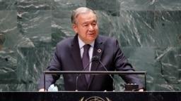 El secretario general de Naciones Unidas, Antonio Guterres, pronuncia el discurso inaugural de la 76 Asamblea General el 20 de septiembre de 2021.